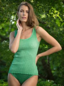 Unterhemd Bio Baumwolle Aria S/L moosgrün von Madiva Eco Future
