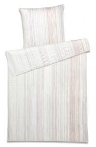 Bio-Baumwolle Bettwäsche Grades Streifen beige-grau gestreift