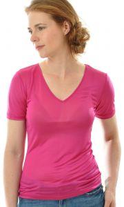 T-Shirt mit V-Ausschnitt aus Bio-Seide Feinjersey magenta von Alkena