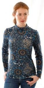 100% Bouretteseide Rollkragen Shirt mit langen Ärmeln mit dunkelblauem Druck
