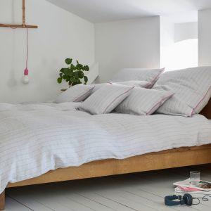 Halbleinen Bettwäsche Pop von Elegante hellgrau-pink gestreift