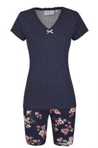 Modal Kurz-Pyjama Mustermix Punkte und Blumen blau-rosa von Ringella