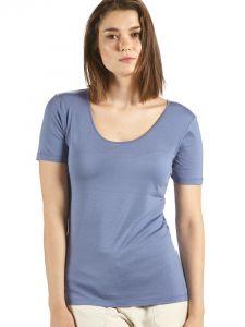 Seide + Bio-Baumwolle kbA T-Shirt rauchblau von Kokon Zwo