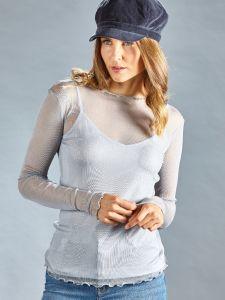 Langarm Shirt silbergrau aus Seide Netztüll von Kokon Zwo - das Unterhemd ist nicht im Lieferumfang enthalten