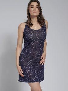 Seiden Unterkleid Dunkelblau mit Allover Muster