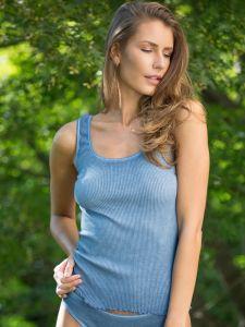 Unterhemd Bio Baumwolle Aria S/L jeansblau von Madiva Eco Future