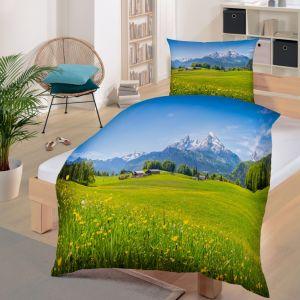 Bio Baumwolle Bettwäsche Renforce mit Alpenlandschaft GOTS von Dekor