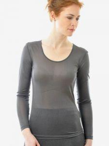 Langarm-Shirt anthrazit aus Bio-Seide Feinjersey von Alkena