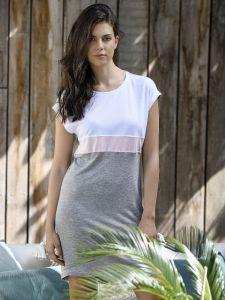 Tencel TM Sleepshirt weiß rosa hellgrau im Colour Blocking von Ringella