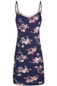 Modal Nachthemd Blumenmuster blau-rosa von Ringella