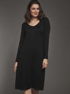 Seide mit Bio Baumwolle Langarm Nachthemd schwarz von Kokon Zwo