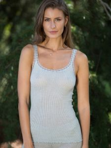 Wolle-Seide Träger-Top Breeze S/S hellgrau von Madiva Eco Future